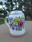 VINTAGE AUSTRIA FAIENCE POTTERY PEWTER TOP FLORAL MUG STEIN 1980 BEER DELFT 5.5