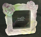 Daum France Pate de Verre Rose Crystal Picture Frame Signed