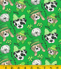 Patty Reed Designs St. Patrick's Day Pups Fabric 2 Yards Multi-Color 100% Cotton