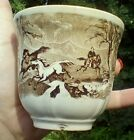 Antique cup brown handleless 1800s  OLD MUG Horses Staffordshire