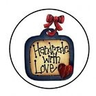 48 HANDMADE WITH LOVE ENVELOPE SEALS LABELS STICKERS 12 ROUND