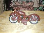 Vintage Cast Iron Hand Painted Toy Motorcycle