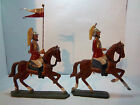 LOT OF 2 THIN CAST LEAD BRITISH ? SOLDIERS MOUNTED ON HORSEBACK HAND PAINTED OLD