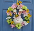 Miss Bunny Spring Floral Door or Wall Wreath Flowers Easter Summer Handmade New