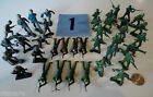 Vintage Lot Marx MPC Plastic WWII Green Gray Army Men Playsets #1