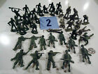 Vintage Lot of 41 Marx MPC Plastic WWII Dark and Gray Army Men Playsets #2