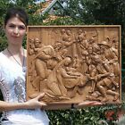 24 Nativity Birth of Jesus Orthodox Wooden Carved Icon Large Christian Gift