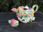 Fitz and Floyd Spring Summer Herb Garden Teapot 1996 Vibrant Colors