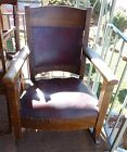 Vintage Wood Rocker with Burgundy Leather