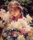 Oil painting peonies beautiful young girl with spring flowers free shipping cost