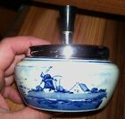 DELFT HOLLAND ASHTRAY BLUE WINDMILL AND FLOWERS VINTAGE ANTIQUE PORCELAIN W TOP