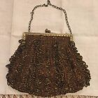 1920's Antique Beaded Flapper Style Evening Bag Purse Coppery Brown Gold Details