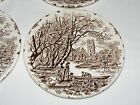 VINTAGE ENGLISH IRONSTONE POTTERY 4 PIECE BUTTER PAT DISH PLATE SET OLD ENGLAND