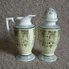 Vintage 1930 Seiei Japan Sugar Shaker Creamer Jug Set Glazed Lusterware Art Deco