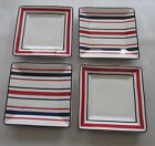 Tommy Hilfiger The Stripe 4 Appetizer Dessert Plates NIB Red White Blue