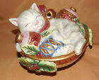 FITZ AND FLOYD Kristmas Kitty CAT Kitten Ornament Lidded JAR Dish Christmas