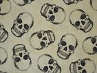 Cream Black Skulls Quilting Fabric Timeless Treasures Sewing 100 Cotton FQ BTY