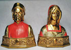 Dante and Beatrice/Nice ~1927 Polychrome Bronze Clad Bookends by Pompeian Bronze