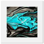 Contemporary Wall Clock Turquoise Swirl Clock Multimedia Abstract Wall Decor