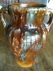 Vintage Brown Blue Brush McCoy Handled Vase Drip Glaze Onyx