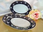 Fine Porcelain Oval Pickle Dish Blue with  22K Gold Plated Set of 3 pc NEW