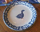 Tienshan Folkcraft Blue Spongeware 4 Dinner Plates Cow Chix Rabbit Duck