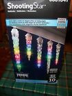 GEMMY LIGHTSHOW LED SHOOTING STAR MULTICOLOR 10 ICICLES  CHRISTMAS LIGHT SET NIB