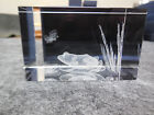 NEW 3 D LASER ETCHED 225 x 15 CRYSTAL GLASS CUBE OF FROG AT POND