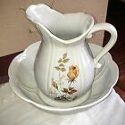 Vintage McCoy Pottery Large White With Bluish Tint Rose Pitcher
