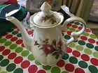 VINTAGE - TEA POT WITH LID - MOSS ROSE - BONE CHINA 8