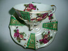 Japan UCAGCO Fine China Roses Footed Green Tea Cup Saucer Set Collectible