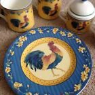 Fitz and Floyd Coq Du Village Rooster Plate Blue
