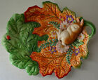 Vintage Woodland Spring Fitz and Floyd Plate Bunny Rabbit Serving Candy Dish