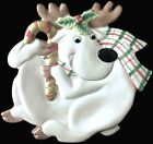 Fitz & Floyd Plaid Christmas Reindeer Serving Plate Glazed Ceramic 10.5