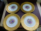 STUNNING LOT 4 ROYAL BAVARIAN HUTSCHENREUTHER SELB GOLD ENCRUSTED FLORAL PLATES