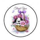 48 THANK YOU PUPPY FLOWERS ENVELOPE SEALS LABELS STICKERS 12 ROUND