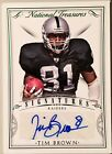Tim Brown 4 5 made. 2015 National Treasures Signatures Autograph Green Paralle