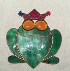 Stained Glass Frog Suncatcher Ornament Vintage Prince Crown Green Red