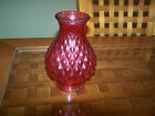 VINTAGE GLASS LAMP SHADE RED CRANBERRY RUBY OIL HURRICANE CHIMNEY ELECTRIC QUILT