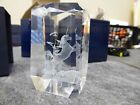 NEW UNICORN 3 D LASER ETCHED 3 x 2 CRYSTAL GLASS CUBE