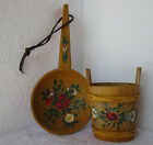 Wooden hand painted carved big spoon and small bucket scandinavian folk art