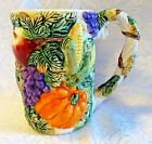 Fitz Floyd Coffee Mug Harvest Bounty Vegetables Fruits Grapes Pumpkin Corn Vtg