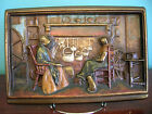 Bronze clad Colonial hearth plaque bookend Galvano Bronze orig. paint mint 1920s