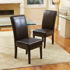 Leather Dining Chairs Set of 2 Side Chair Espresso Wood Contemporary Brown Seats