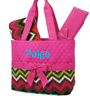 Personalized Multi Chevron Pink Quilted 3Pcs Set Diaper Bag MONOGRAM Embroidery
