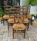 Antique French Tall Dining Chairs Ladder Back Rush Seats Carved w/stretchers She