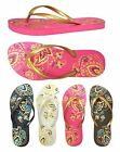 New Womens Beach Floral Print Beach Sandals Flip Flop Nice and Simple 388 L
