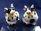 Black  White Cows with Flowers Novelty Salt  Pepper Shakers