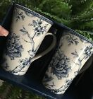 222 FIFTH ADELAIDE Blue White SET OF 2 Tall Latte Mugs French Toile NIB