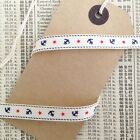 9mm Ivory Cream Nautical Grosgrain Ribbon with Navy Anchor Red Star 1M or 5M
